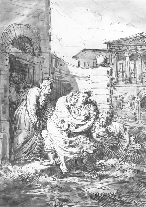 Наводнение в Петербурге 7 ноября 1824 г. 1824. Б. , сепия, акв. , кисть, перо. 28, 4х20, 6. ГТГ. Орест Адамович Кипренский