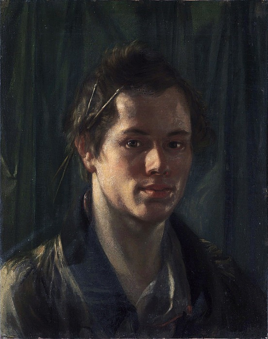 Self-portrait (?) With brushes behind the ear. Orest Adamovich Kiprensky