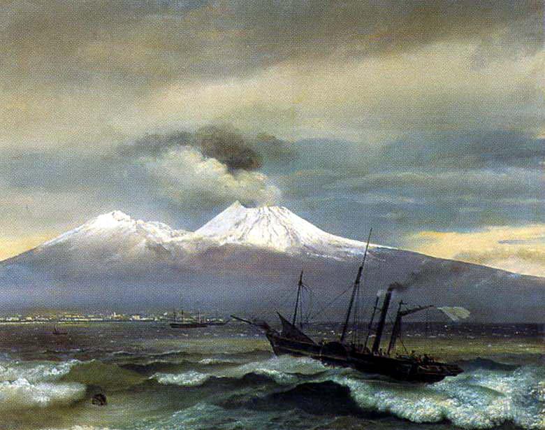 Kind of Vesuvius in the winter. 1830. Petrodvorets. Orest Adamovich Kiprensky