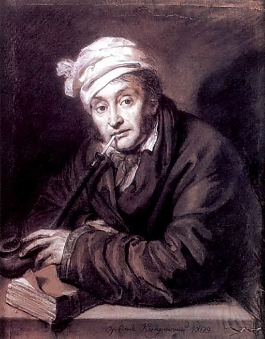 Portrait of Alexei Vladimirovich Davydov. 1809. B. cinnamon. , Um. K., chalk. 60h47. GMF, M.. Orest Adamovich Kiprensky
