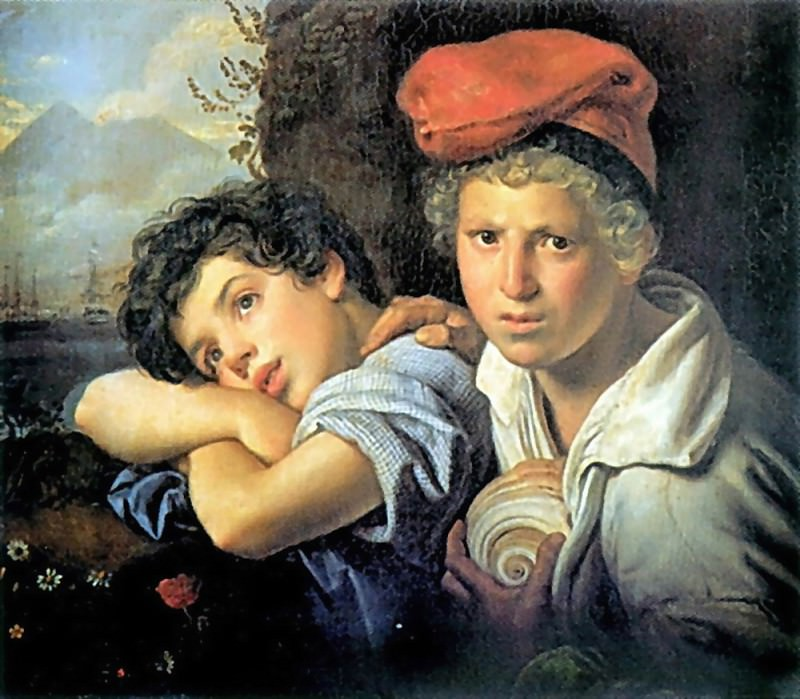 Naples boys fishermen. 1829 H., M. GRM. Orest Adamovich Kiprensky