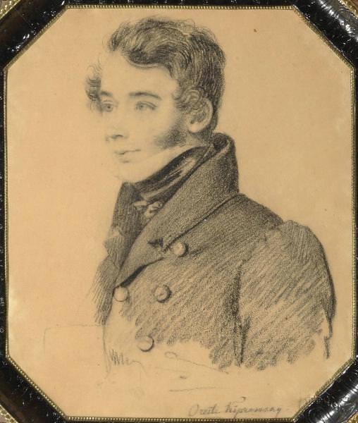 Portrait of an unknown young man with a folder. 1820-e. B., um. c. 19h16 Moose. Tropinin M.. Orest Adamovich Kiprensky