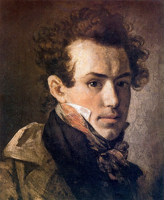 Self-portrait (with a pink handkerchief). H. 1809, 41h35 pm. 7 RM. Orest Adamovich Kiprensky