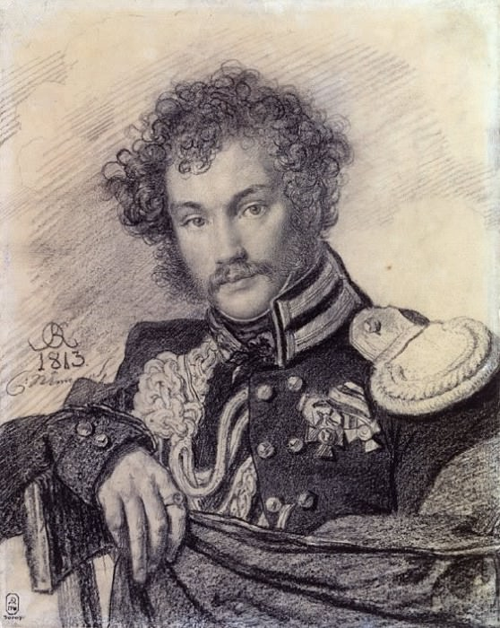 Portrait MP Lansky. 1813 Italian pencil on paper. GRM. Orest Adamovich Kiprensky
