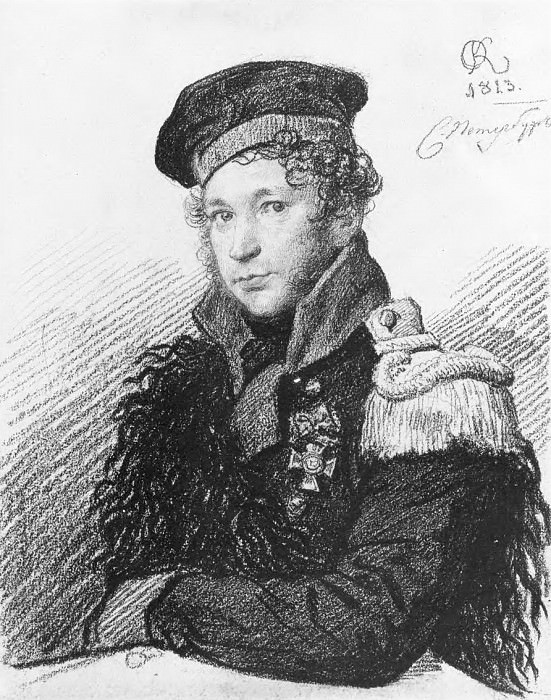 Portrait AR Tomilova in the form of militias. 1813. B., um. c. 24, 7h19, 8. GRM. Orest Adamovich Kiprensky