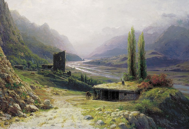 Caucasus Gorge. 1893. Oil on canvas, 53x76 cm. Lev Lagorio