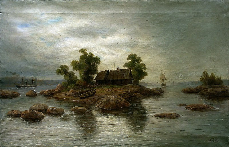 Farm on the island. Canvas. Lev Lagorio