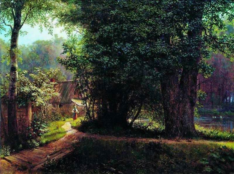 Пейзаж с деревьями, домами и рекой. 1878. Лев Феликсович Лагорио