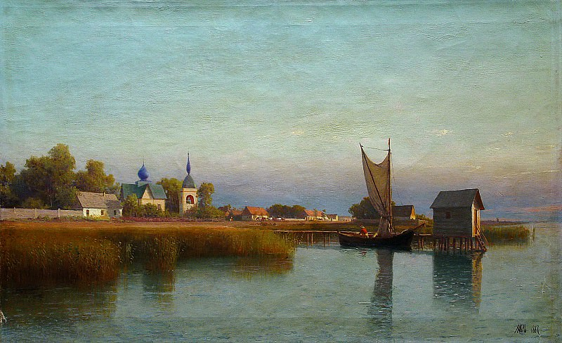 Town view from the river side. 1887. Oil on canvas.. Lev Lagorio