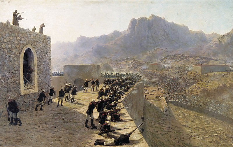Rebuffed by storming the fortress Bayaset June 8/1877. 1891. Oil on canvas.. Lev Lagorio