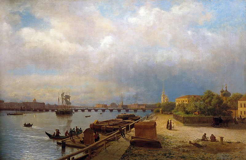 View on the Neva River and the Peter and Paul Fortress. Canvas. Lev Lagorio