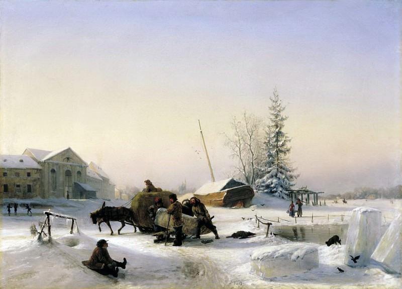 Возка льда. 1849. Лев Феликсович Лагорио