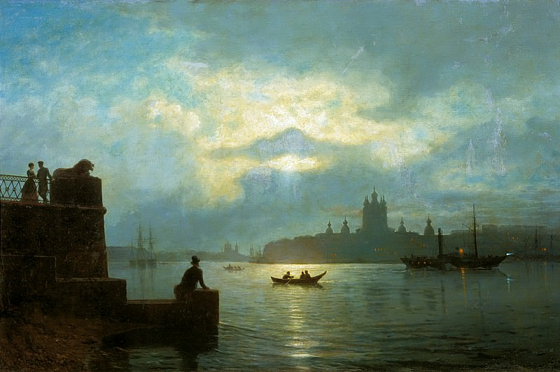 Moonlight night on the Neva. 1898. Lev Lagorio