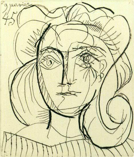 1945 TИte de femme (FranЗoise Gilot) 1. Pablo Picasso (1881-1973) Period of creation: 1943-1961