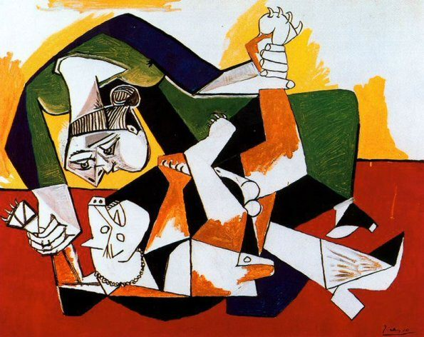 1953 Femme et chien jouant. Pablo Picasso (1881-1973) Period of creation: 1943-1961