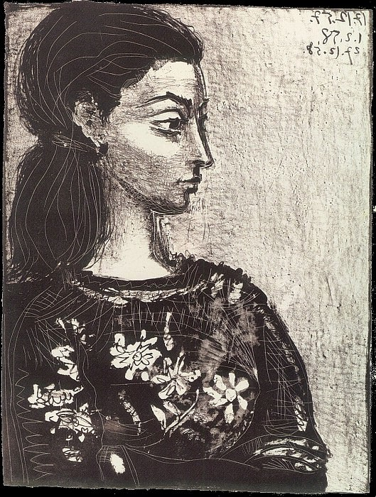 1958 Femme au corsage Е fleurs III. Pablo Picasso (1881-1973) Period of creation: 1943-1961