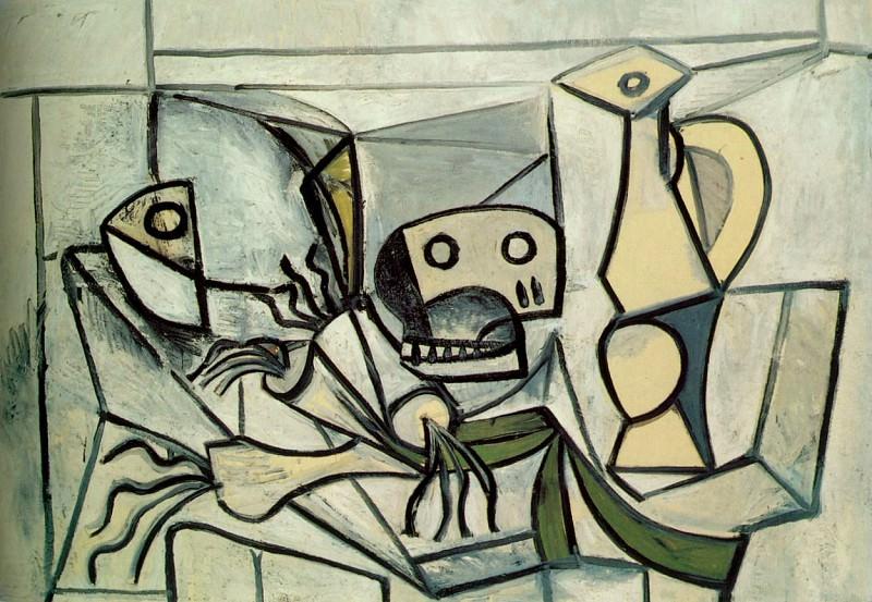 1945 Poireaux, tete de poisson crГne et pichet. Pablo Picasso (1881-1973) Period of creation: 1943-1961