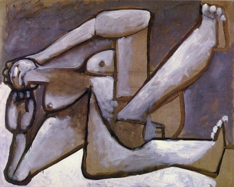 1954 Nu couchВ- Les femmes dAlger (Delacroix). Pablo Picasso (1881-1973) Period of creation: 1943-1961 (Рtude)