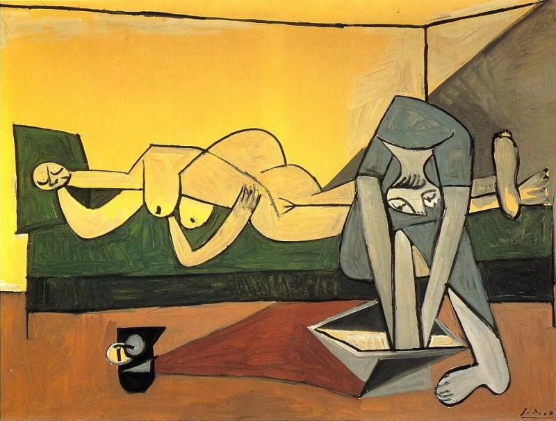 1944 Femme couchВe et femme qui se lave le pied. Пабло Пикассо (1881-1973) Период: 1943-1961