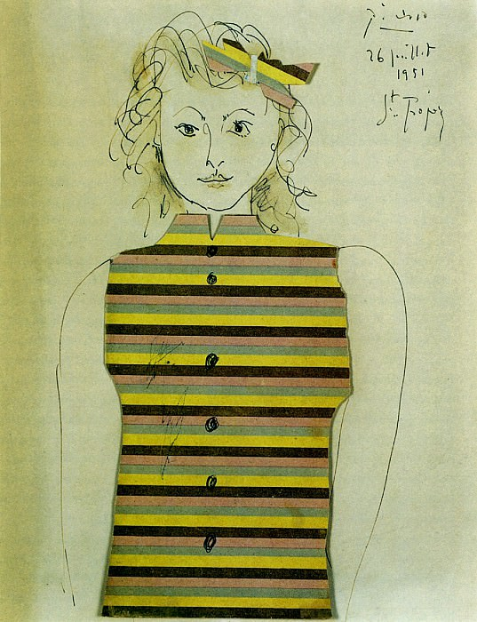 1951 GeneviИve Е la jacquette rayВe. Pablo Picasso (1881-1973) Period of creation: 1943-1961