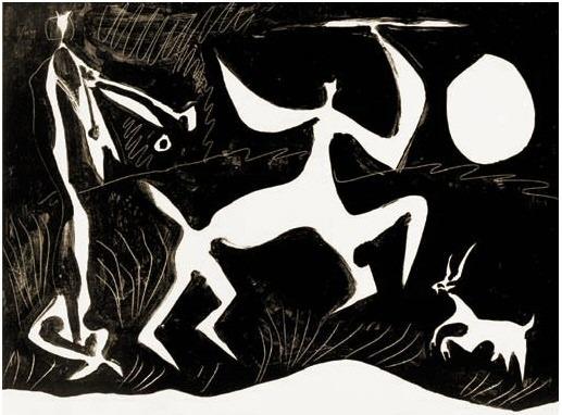 1948 Centaure dansant sur fond noir. Pablo Picasso (1881-1973) Period of creation: 1943-1961