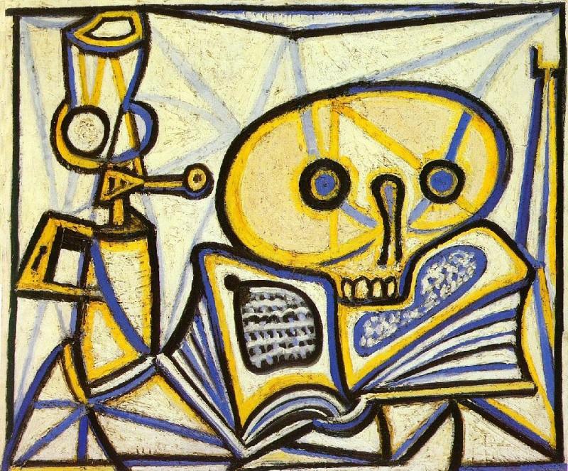 1946 crГne, livre et lampe Е pВtrole. Pablo Picasso (1881-1973) Period of creation: 1943-1961