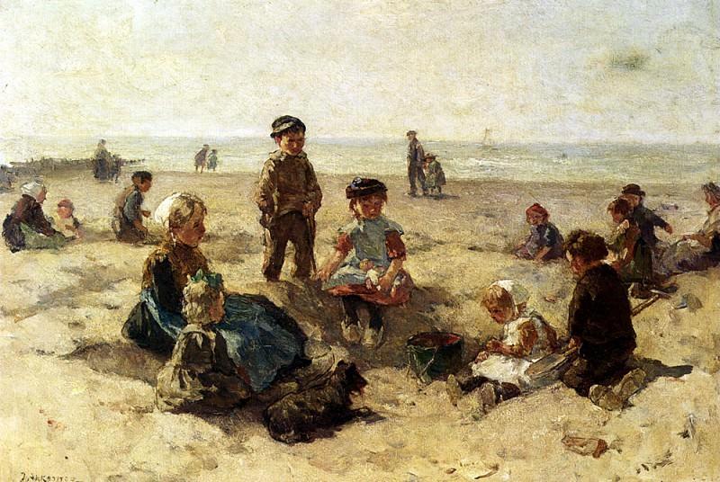 Йоханнес Эверт Аккеринга - Дети, играющие на морском берегу. Американские художники