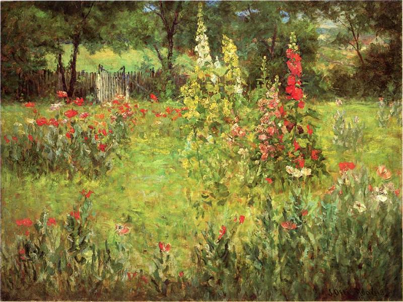 Adams John Ottis Hollyhocks and Poppies The Hermitage. American artists