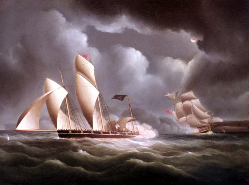 Buttersworth Edward A British Frigate attacking A Pirate Lugger At Night. American artists