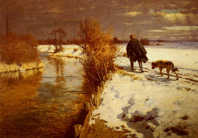 Hartwick Hermann A Hunter In A Winter Landscape. American artists
