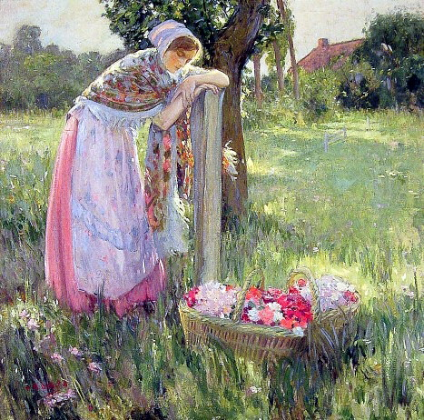 Resting by a basket of flowers. American artists