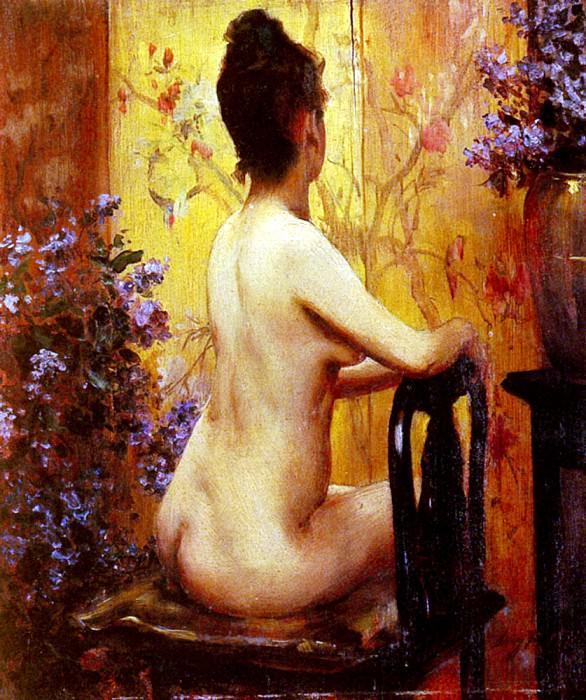 Ирвинг Рэмси Уайлз - Обнажённая, сидящая на стуле. Американские художники