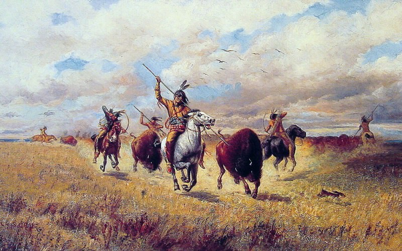 Indian Buffalo Hunt. American artists