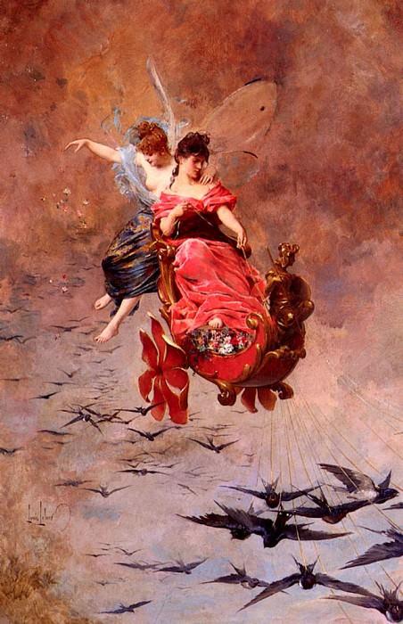 Leloir Alexandre Louis A Chariot Of Swallows. American artists