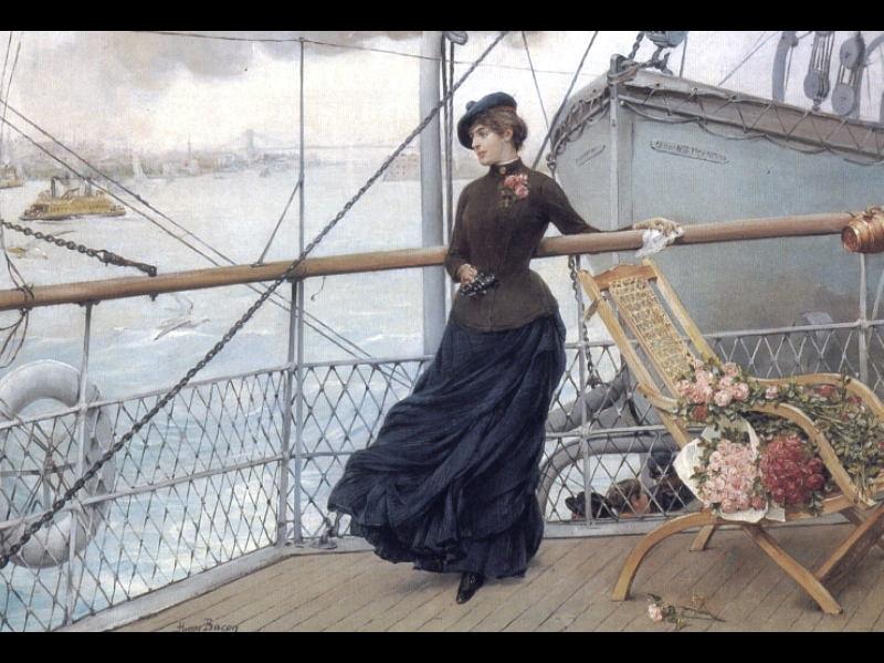 Шотландская леди на судне, прибывающем в Нью-Йорк. Американские художники
