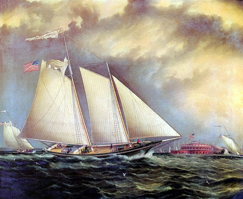 Buttersworth James E Yachting Off Castle Garden. American artists
