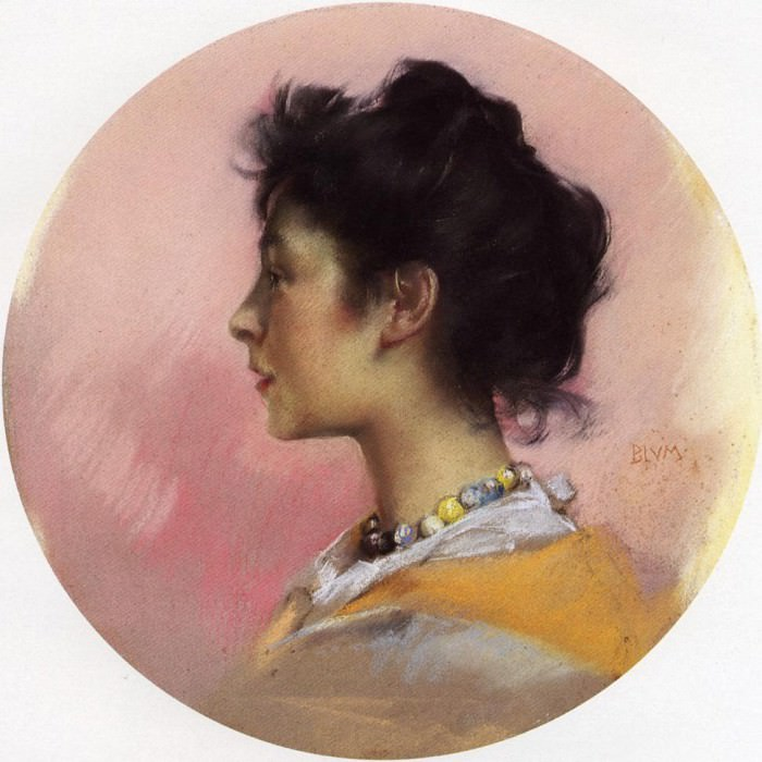 Blum Robert Frederick Portrait of Flora de Stephano. American artists