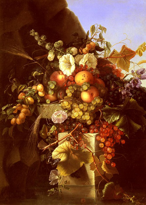 Dietrich Adelheid Still Life With Grapes Peaches Flowers And A Butterfly. American artists