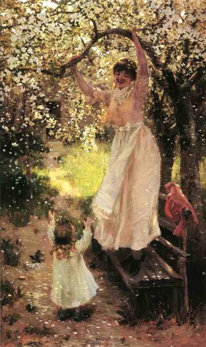 Hamilton Hamilton Falling Apple Blossoms. American artists