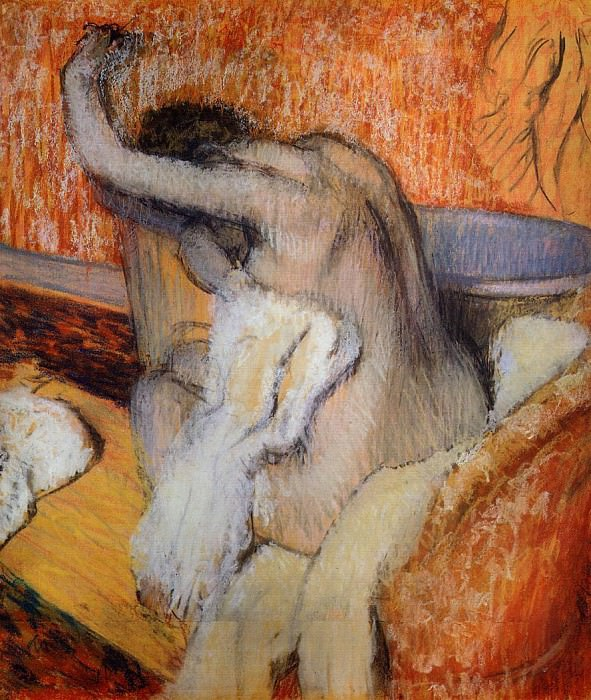 After the Bath Woman Drying Herself. Edgar Degas