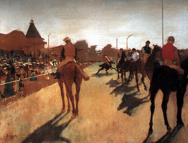 Racehorses in Front of the Grandstand CGF. Edgar Degas