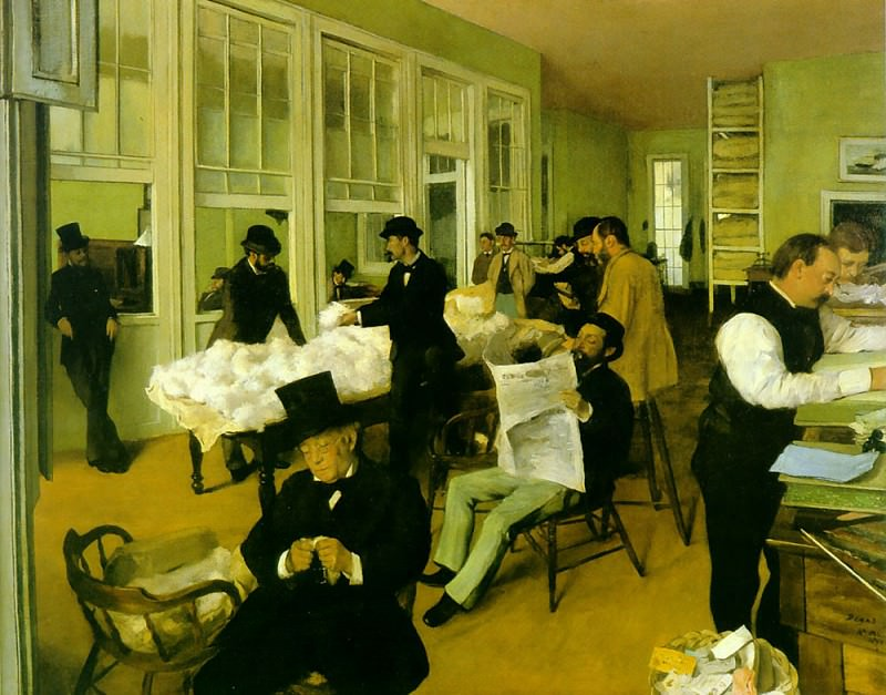 cotton exchange. Edgar Degas