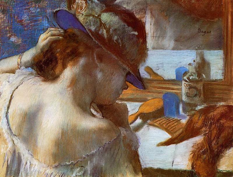 At the Mirror. Edgar Degas