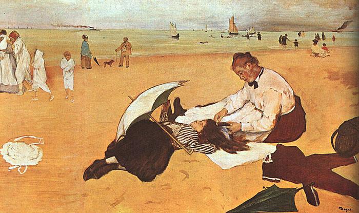 At the Beach. Edgar Degas