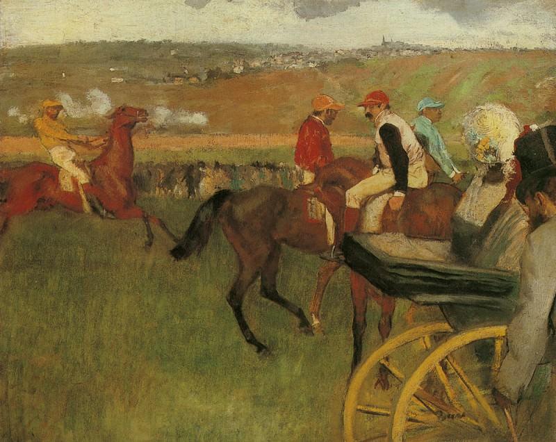 At the Races Gentlemen Jockeys. Edgar Degas