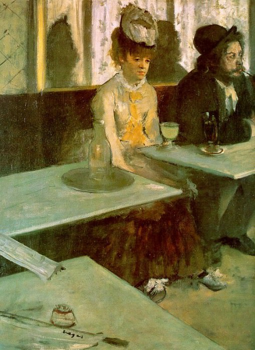 In a Cafe The Absinthe Drinker. Edgar Degas