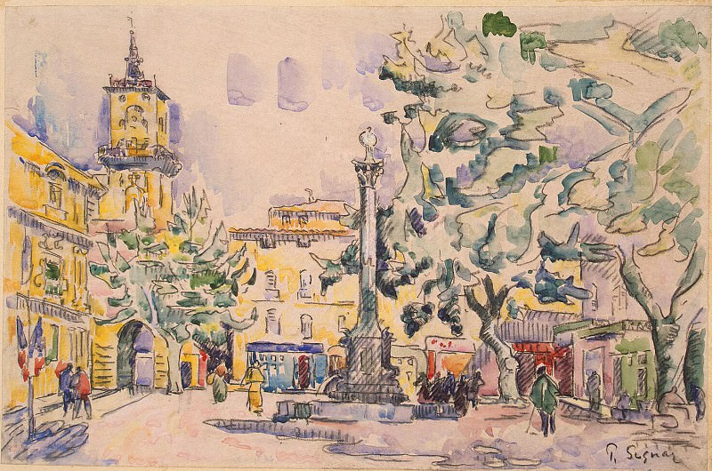 Signac, Paul. Area of Town Hall in Aix-en-Provence. Hermitage ~ part 11