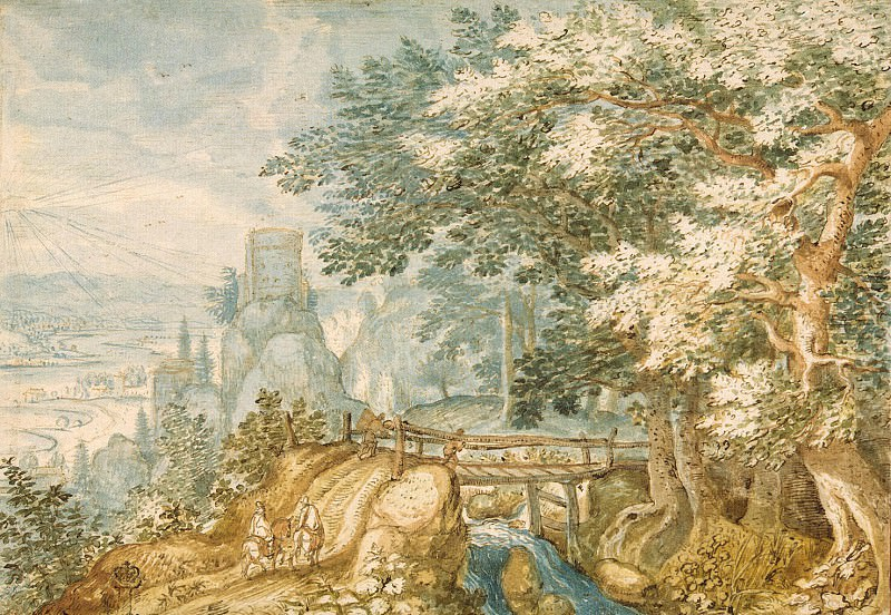 Stevens, Pieter the Younger. Landscape with bridge. Hermitage ~ part 11