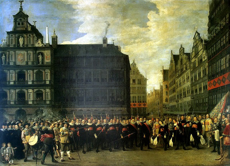 Teniers, David the Younger. Group portrait of members of the Guild Rifle Oude Voetboog in Antwerp. Hermitage ~ part 11