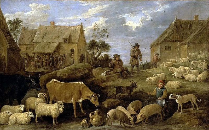 Teniers, David the Younger. Landscape with shepherd and flock. Hermitage ~ part 11